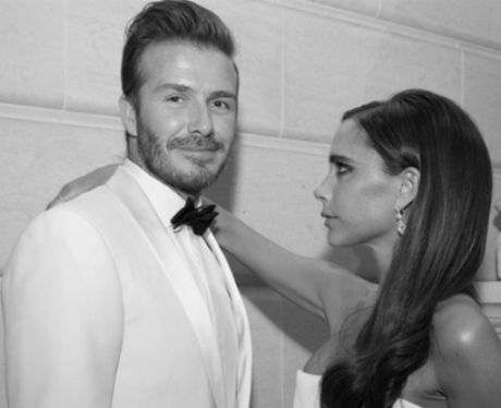 David and Victoria Beckham looking in love