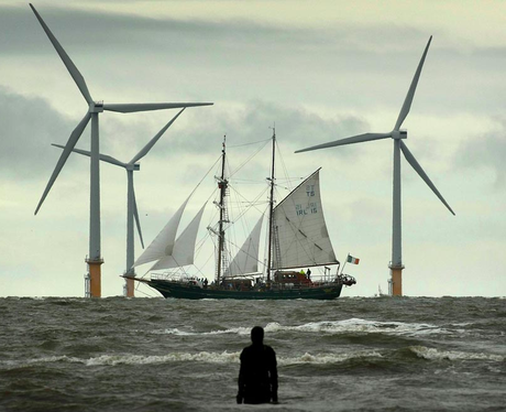 Wind turbines and a ship