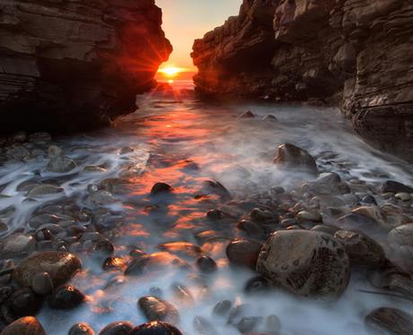 Sunset between two cliffs