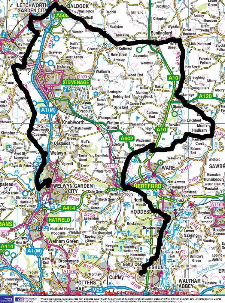 Women's Tour Map 10th May 2014