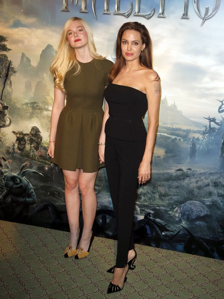 Elle Fanning and Angelina Jolie at the 'Maleficient' premiere