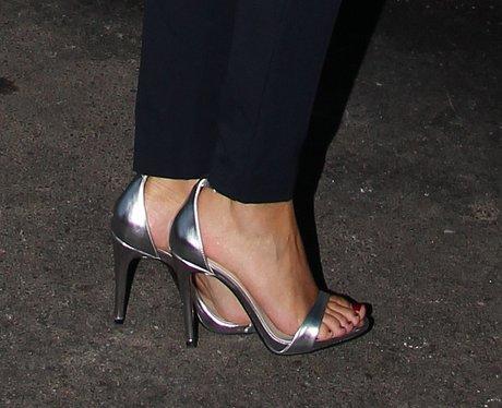 Michelle Keegan Sports Metallic Sandals Celebrity Shoes