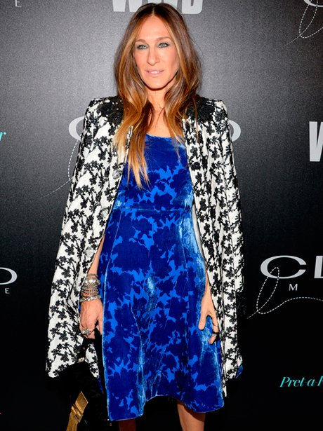 Sarah Jessica Parker in an electric blue dress