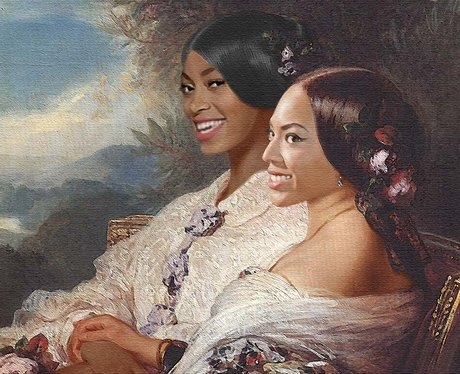 Beyoncé Knowles and Solange Knowles as a painting