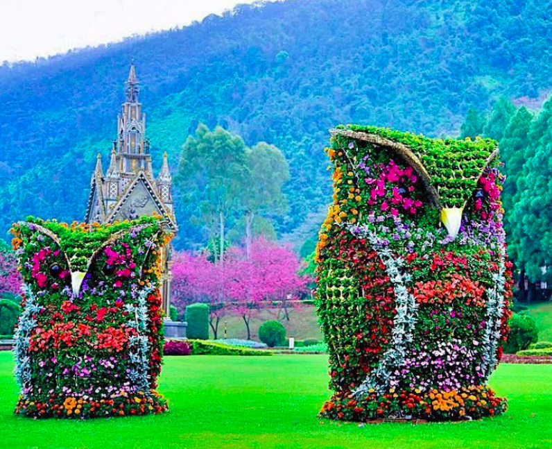 Owl sculptures made of flowers