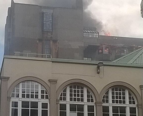 The view of the flames from Sauchiehall Street.