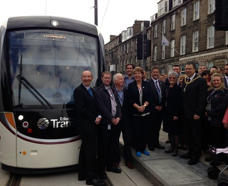 Officials mark the launch of Edinburgh Trams