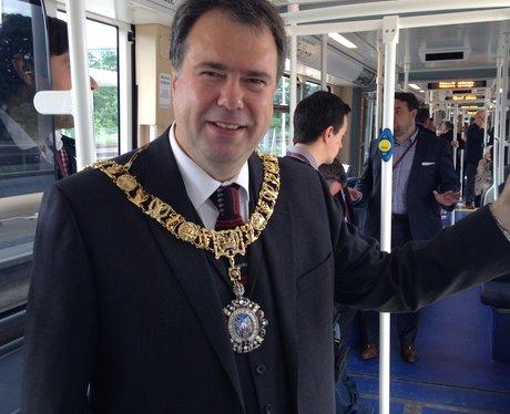 Edinburgh Lord Provost Donald Wilson on a tram