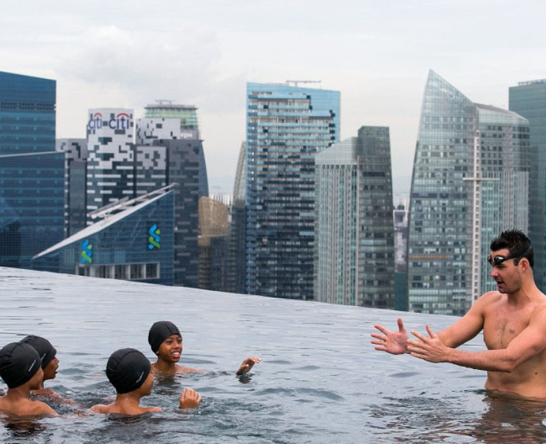 A rooftop swimming lesson