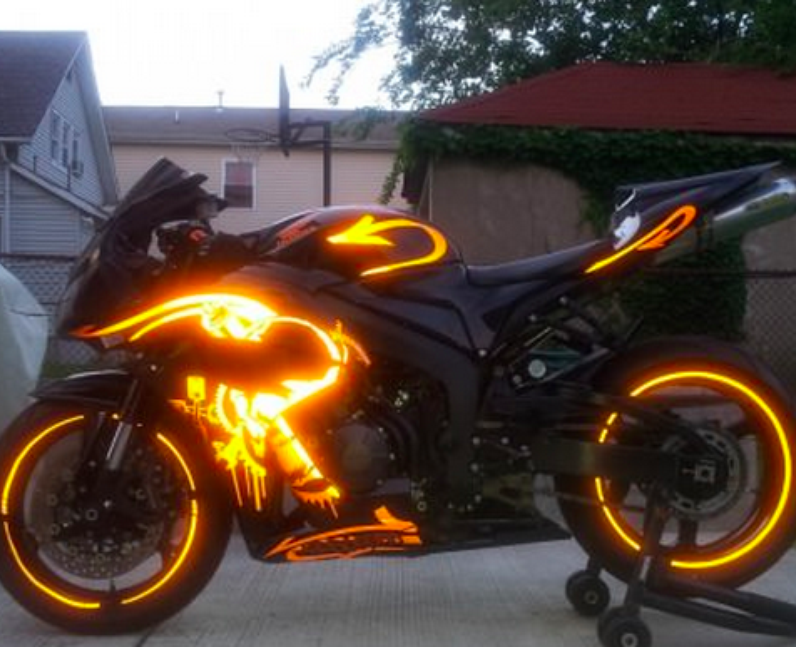 A bike with glowing lights