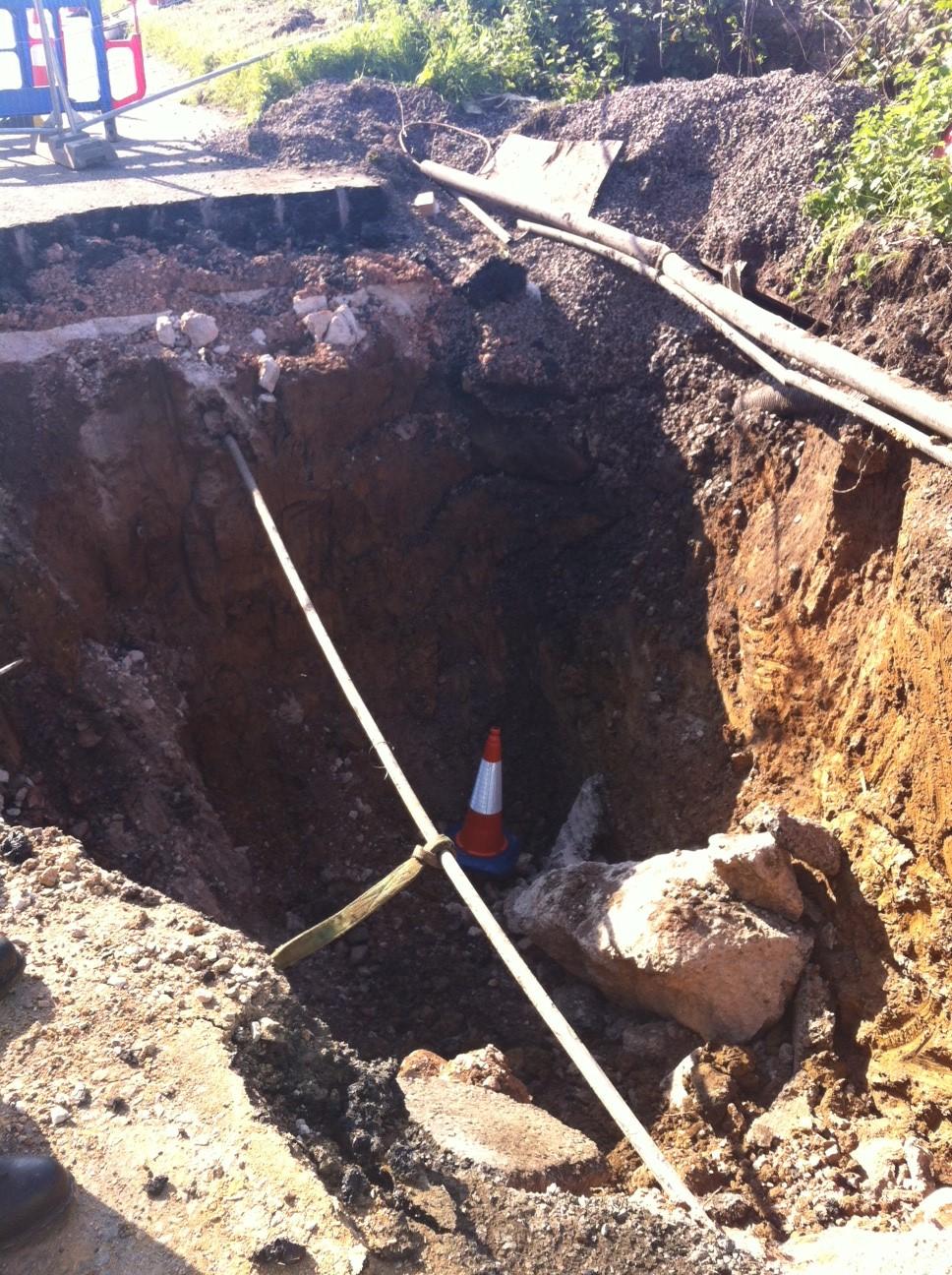 A sinkhole in Somerset near Wells
