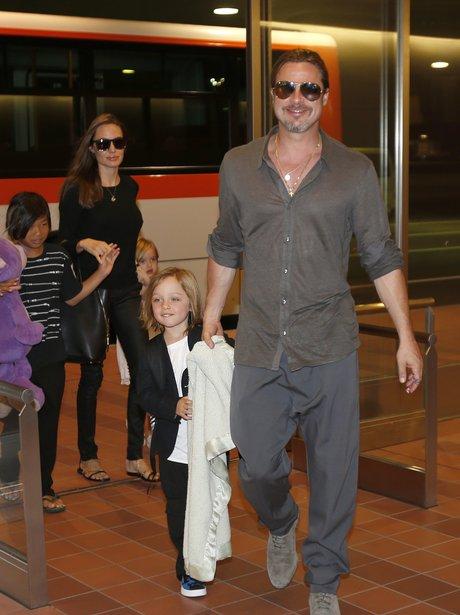 Brad Pitt with Angelina Jolie and Knox