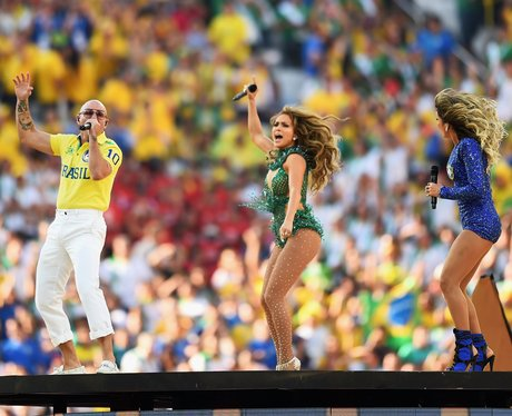 Jennifer Lopez and Pitbull at the World Cup 2014