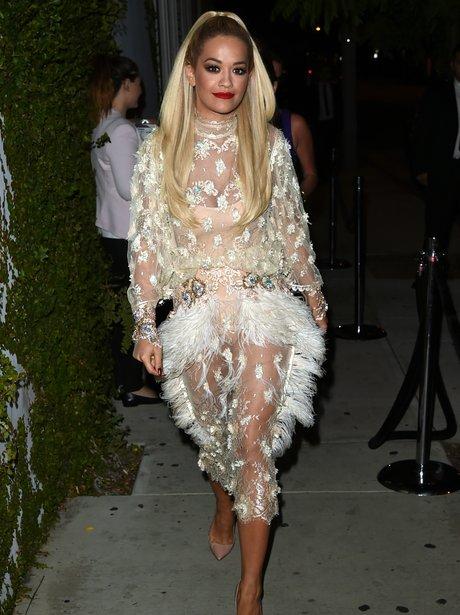 Rita Ora wearing a see through dress