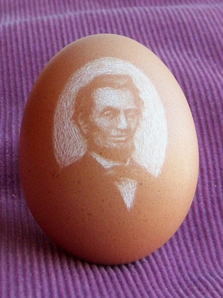 Portrait of Lincoln, Etched Eggshell