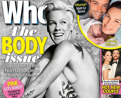 Pink naked on the cover of Who magazine