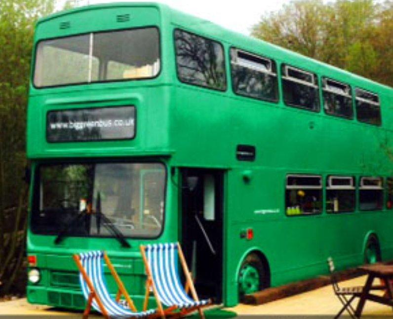 A big green bus hotel