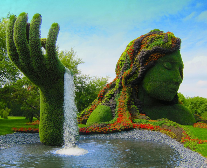 A fountain in a garden.