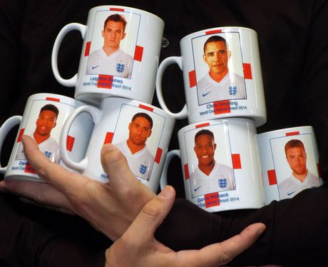 Barack Obama's face on a mug and mistaken for England player
