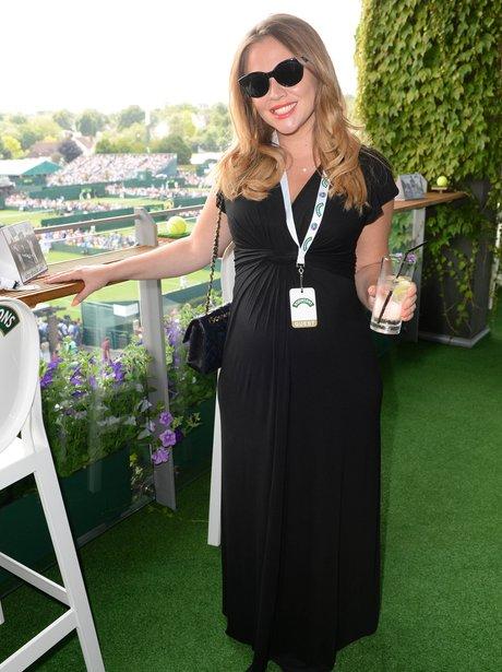 Kimberley Walsh wears a black maxi dress at Wimbledon