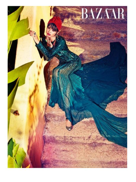 Rihanna wears green dress for Harper's Bazaar Arabia