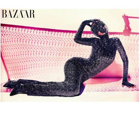Rihanna models a mask for Harper's Bazaar Arabia