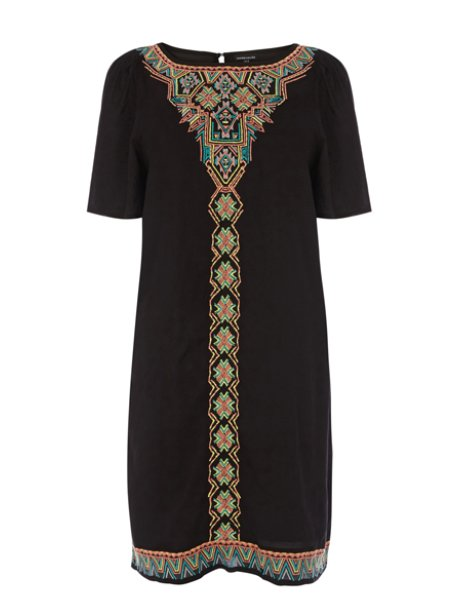 Warehouse Fluro Embroidered Tunic Dress
