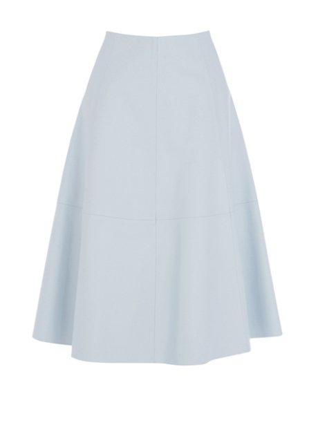 Warehouse Leather Midi Skirt