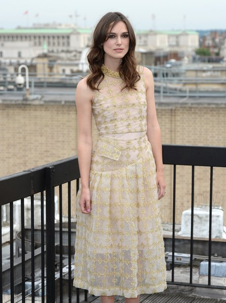 Keira Knightley in gold erdem dress