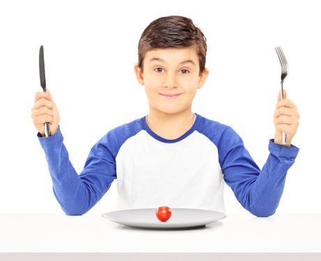 School dinners with knife and fork