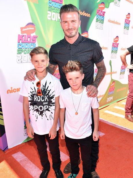 David Beckham with Cruz and Romeo at the Nickleodeon Kids Choice Award