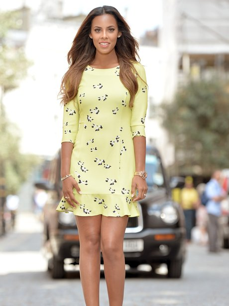 Rochelle Humes in a yellow dress