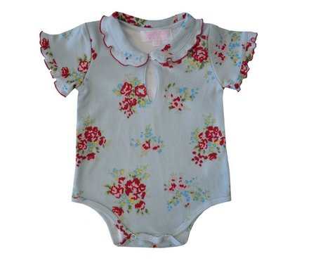 Baby Girls Blue Red Rose Floral Print Design Baby