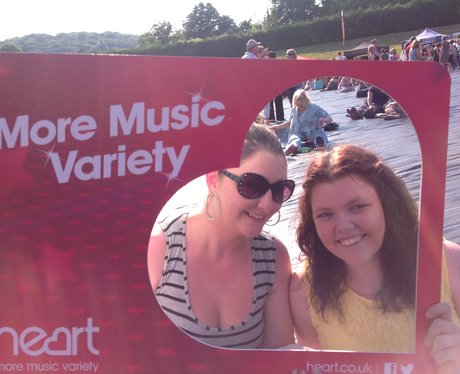 Listeners posing with frame at jessie j gig