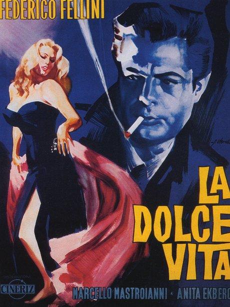Iconic sexy film poster Federico Fellini La Dolce