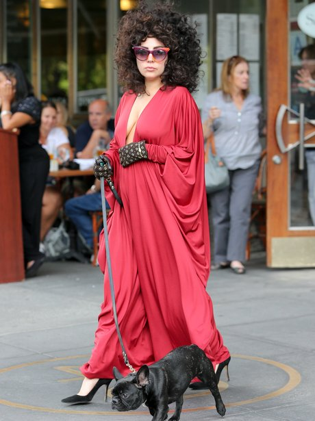 Lady Gaga in an afro walking her dog in New York