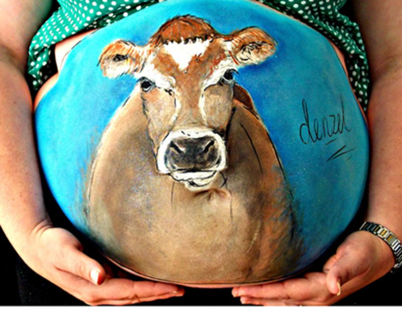 Cow painted baby bump