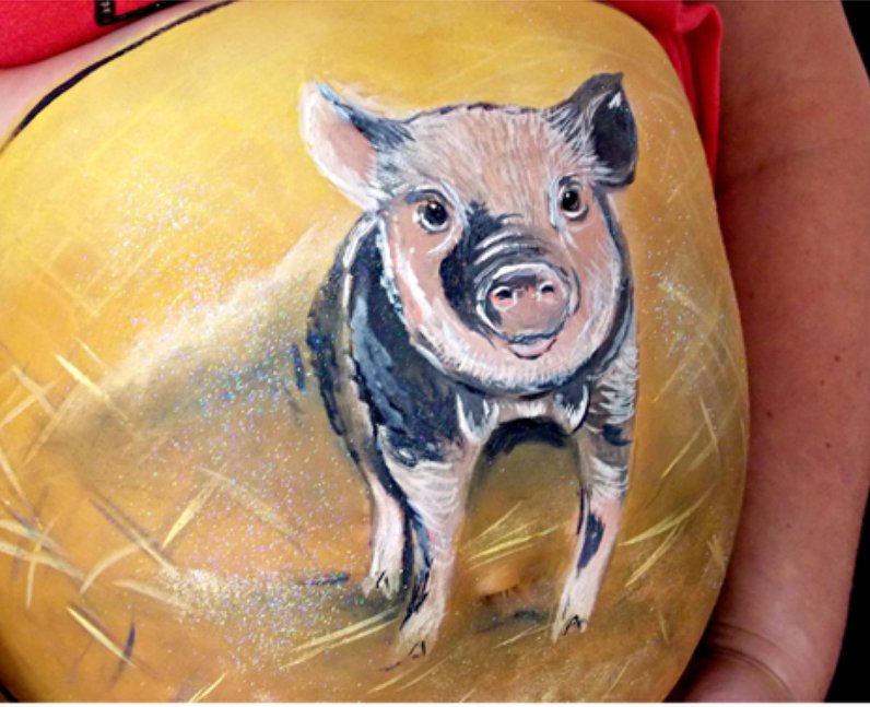 Pig painted baby bump