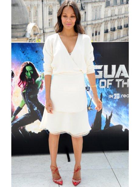 Zoe Saldana white dress