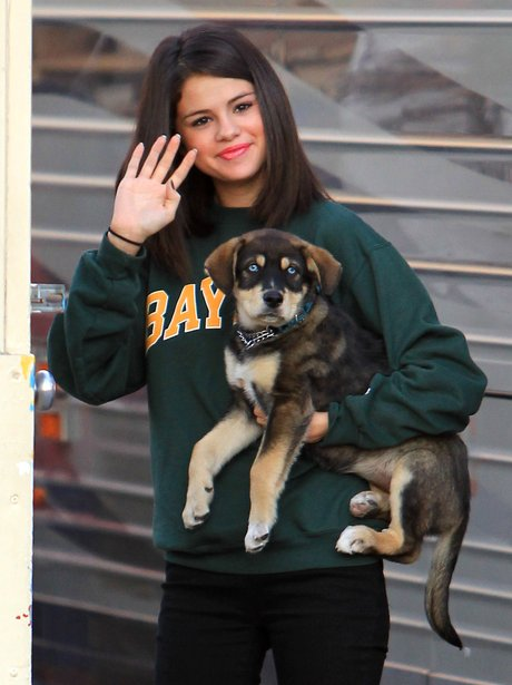 Selena Gomez with her pet dog baylor