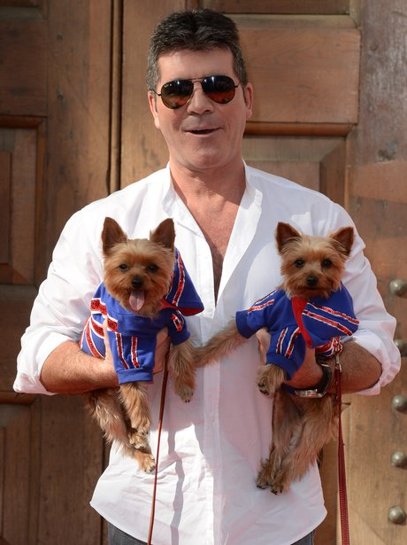 Simon Cowell with pet dogs Squiddly and Diddly arriving at the Britain's Got Talent launch