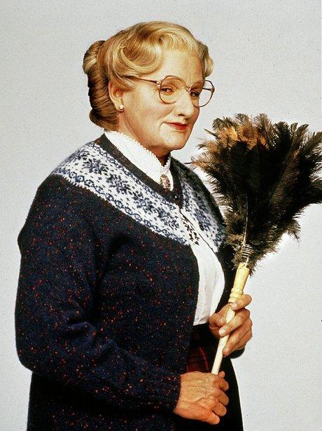 Robin Williams dressed as Mrs Doubtfire