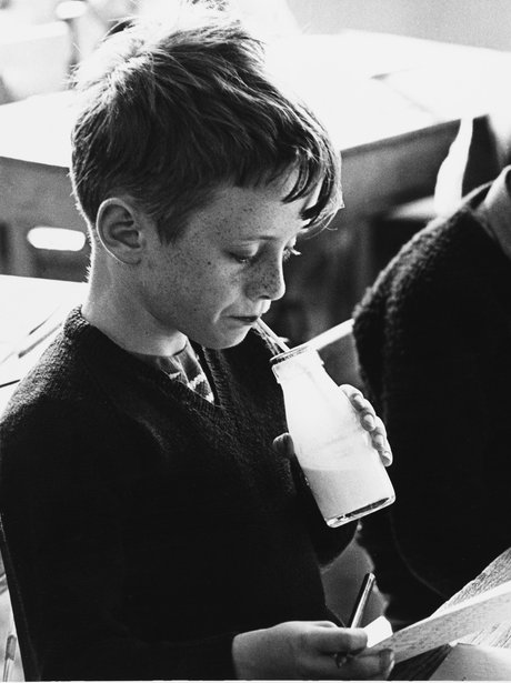 Back to school with a milk bottle during school break