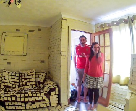 Jamie and Emily Pharro home covered in Post It notes