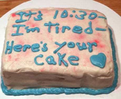 a disastrous pink and blue cake