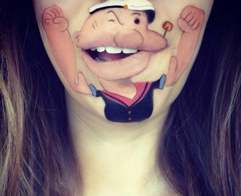 Laura Jenkinson with Popeye painted on her face