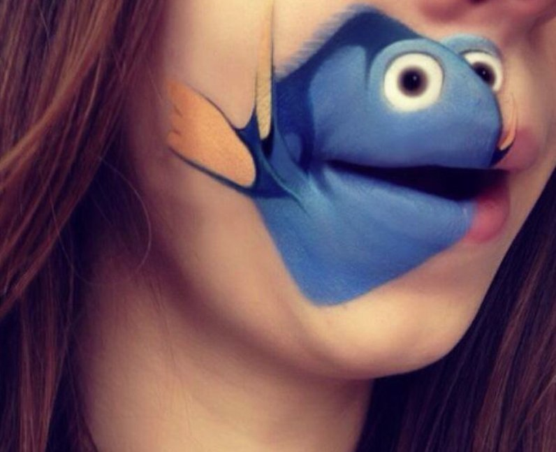 Laura Jenkinson with Dory painted on her face