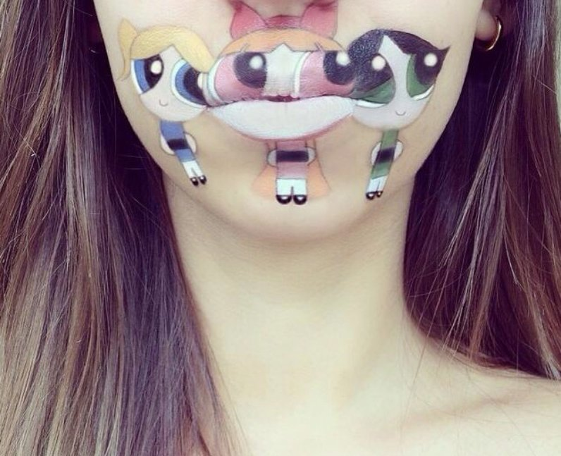 Laura Jenkinson with Powerpuff Girls painted on her face