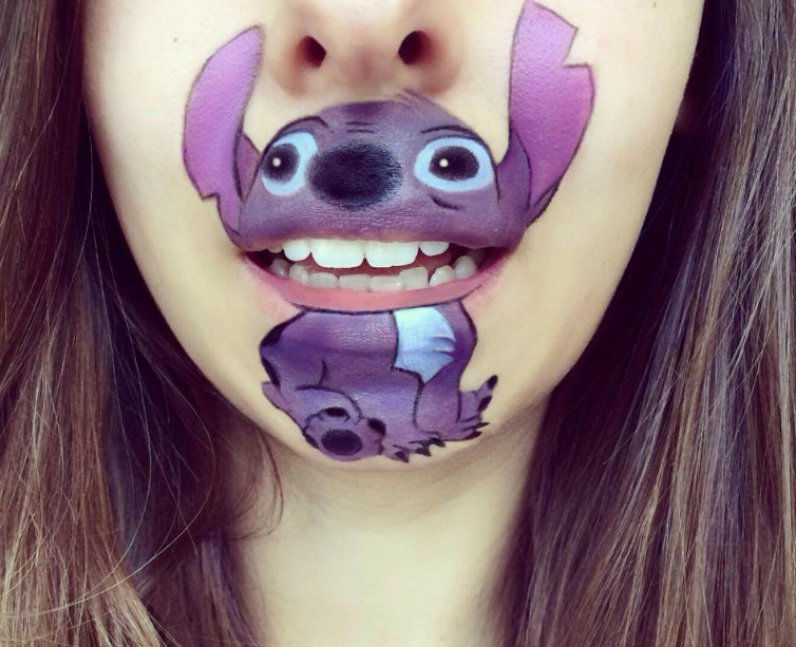 Laura Jenkinson with Stitch painted on her face