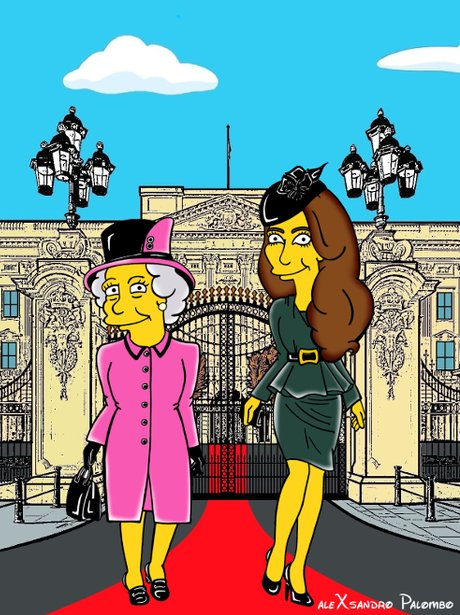 The Queen and Kate Middleton as a Simpson character